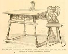 img/dessins meubles mobilier/table et chaise avec ornements peints pour un pavillon de jardin.jpg