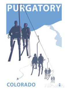 Purgatory, Colorado - Skier Lift Art sur AllPosters.fr