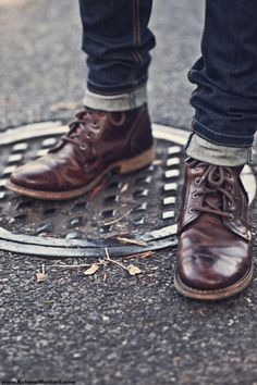 1950s Greaser Style - Rugged Boots & Cuffed Jeans. I would polish these boots up real nice!