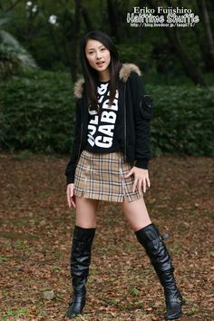 Black Boots Outfit, Sexy Boots, Skirts With Boots, Mini Skirts, Asian Woman, Asian Girl, Thigh High Boots Heels, Knee Boots, Winter Fashion Boots