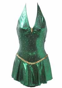 Consignment Motionwear Emerald Green Shiny Lycra Halter Adult M