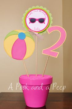Primary Pool Party Beach Theme Centerpiece Table Top Personalized Birthday Shower Decoration