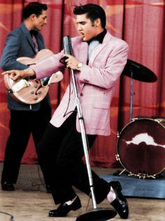 "Elvis Presley (in pink!); great American musician and often referred to as ""the King""."