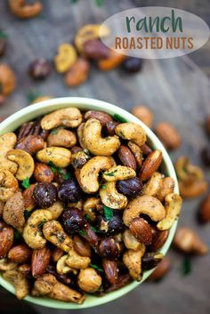 Nuts are a great option for a low carb snack and I made these roasted nuts extra flavorful with a homemade ranch seasoning! Appetizer Recipes, Snack Recipes, Cooking Recipes, Appetizers, Nut Mix Recipe, Party Nuts Recipe, Healthy Snacks, Healthy Recipes, Savory Snacks