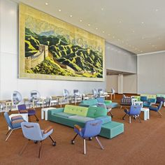 The Northern Delegates Lounge of the UN headquarters in New York received a colourful make-over from Dutch designer Hella Jongerius.