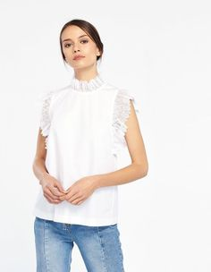 Top With Lace On The Sleeves - Summer Collection - Sandro Paris Cotton Lace, High Collar, French Fashion, Summer Collection, Elsa, Short Sleeves, Spring Summer, My Style, Paris