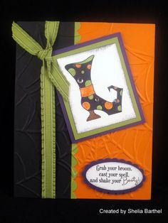 Stampin Up Card – Bootiful Occasions Halloween Tags, Halloween Birthday, Halloween Projects, Holiday Crafts For Kids, Christmas Cards To Make, Holiday Cards, Fall Paper Crafts, Thanksgiving Cards, Fall Cards