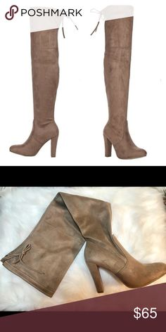 SALE 💥 Taupe  Slip on over knee boot drawstring Sale price is firm 💥💥💥  Taupe  Slip on over the knee boot with draw string 4 inch heel. Faux suede material. Fits true to size Shoes Over the Knee Boots