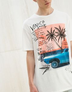 /Venice' top - T-Shirts - Bershka United Kingdom Juniors Graphic Tees, Cool Graphic Tees, Shirt Print Design, Tee Shirt Designs, Cool Shirts, Tee Shirts, Summer Shirts, Mens Tees, Printed Shirts