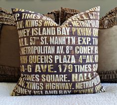 Vintage Subway Signs Pillow Cover by nest2impress on Etsy