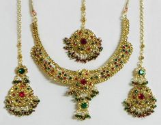 Faux Amber, Emerald and Ruby Necklace Set with Mang Tika (Stone and Metal))