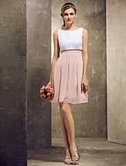 Bruidsmeisje jurk Korte broek / Mini Doek A-Lijn Boot Jurk