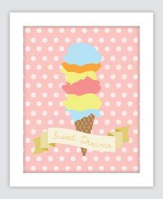 Sweet Dreams Ice Cream Art Vintage Inspired Print New by DesignGem, $12.00 for 5x7