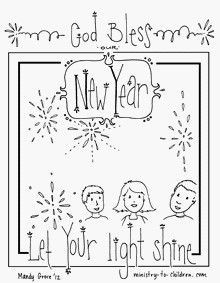 "New Year's coloring sheets, ""God bless our New Year. . . Let your light shine."""