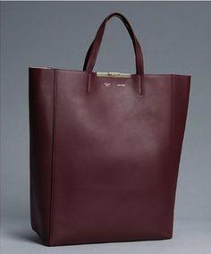 Celine Leather Cabas Burgundy Tote Bag