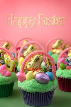 miniature Easter basket cupcake...how cute!