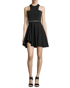 CUSHNIE ET OCHS Sleeveless Neoprene Mini Dress, Black. #cushnieetochs #cloth #