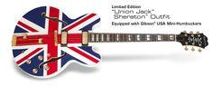 Ltd Ed Union Jack Sheraton: Equipped with Gibson USA Mini-Humbuckers