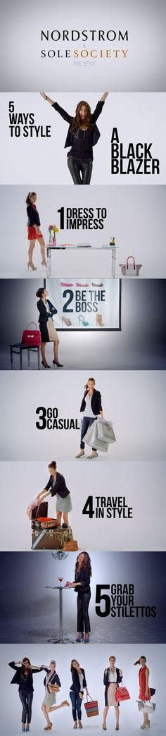 5 Ways to Style a Black Blazer via @Nordstrom & @Jennie Soler-McIntosh Calvino Society