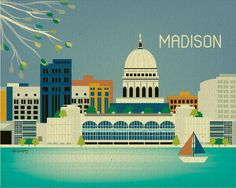 Madison, Wisconsin Skyline - Gift Art Poster Print for Home Decor, Nursery, and Office Wall Art - style Voyage Usa, Madison Wisconsin, West Art, Skyline Art, Capitol Building, Office Wall Art, Vintage Travel Posters, Illustrations, Lake City