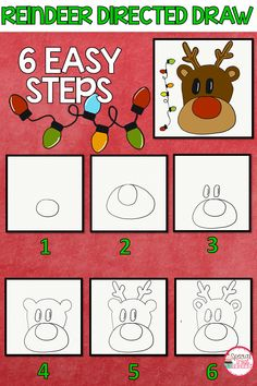 Christmas reindeer directed draw free winter and christmas a Preschool Christmas, Noel Christmas, Christmas Activities, Christmas Crafts For Kids, Holiday Crafts, Reindeer Drawing, Christmas Art Projects, Rena, Directed Drawing