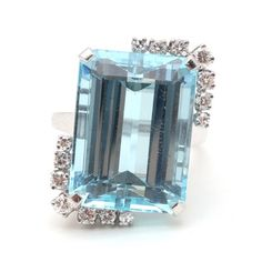 Platinum 19.13 CTS Aquamarine and Diamond Cocktail Ring