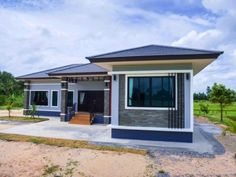 Simple and Elegant Small House Design With 3 Bedrooms and 2 Bathrooms - Ulric Home Single Storey House Plans, One Storey House, Modern Bungalow House Design, Simple House Design, Model House Plan, My House Plans, Two Story House Design, Small Beach Houses, House Construction Plan