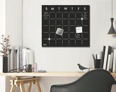Wall Calendar Organizer / Chalkboard Magnetic Calendar by Metalya