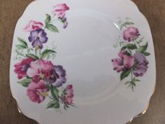 Vintage Bone China Pansy Plate Windsor Made in England