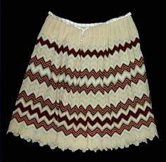 Wisconsin Historical Museum Online Collections Petticoat, girl's, yellow wool knit, multi-colored dark zigzags, 1830-1869