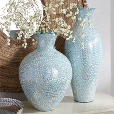 Aqua Mosaic Vases LOVE THEM. Also like the mirror!!!
