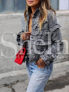 Shop Grey Long Sleeve Lapel Ruffle Coat online. SheIn offers Grey Long Sleeve Lapel Ruffle Coat & more to fit your fashionable needs.