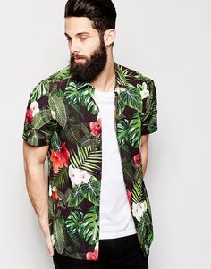 ASOS+Shirt+With+Jungle+Print+and+Short+Sleeves