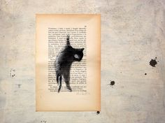 original cat painting in black  watercolor and tempera on by vumap