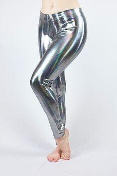 7b61924a2d68 Holographic Mirror Stripe Party Pants! Women's Shiny Holographic Leggings  // Women's Silver Chrome Legging