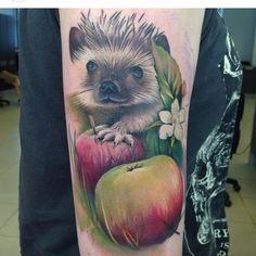 Cute tattoo, fruit, nature, hedgehog, animal
