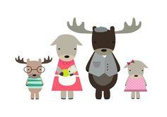 Poster A4 Family Moose from vanMariel ● Buy it at Troetel.com