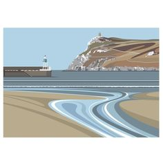 From the Beach at Port Erin looking towards Bradda Head Digital Print (Archival) Size x Edition 150 Post & Packing Landscape Prints, Landscape Art, Art Deco Posters, Isle Of Man, Illustrations, Travel Posters, Digital Illustration, Digital Prints, Art Gallery