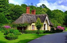 "The English Storybook Cottage. ~ ""Thatched roofs, oversize chimneys and colorful cottage gardens offer an intoxicating visual feast that is difficult to resist! Visions of sugarplum fairies dance in our minds. Storybook Homes, Storybook Cottage, Fairytale Cottage, Garden Cottage, Little Cottages, Cabins And Cottages, Cute Cottage, Cottage Style, Irish Cottage"