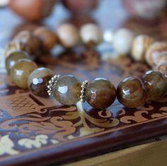 Agate, jasper and sterling silver bracelet 🎄