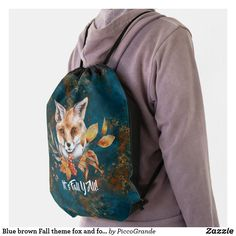 Blue brown Fall theme fox and foliage custom Drawstring Bag Black Rope, Back To Black, Rope Maker, Custom Drawstring Bags, Mouth Mask Fashion, Watercolor Fox, Personalized Buttons, Fox Illustration, Brown Aesthetic