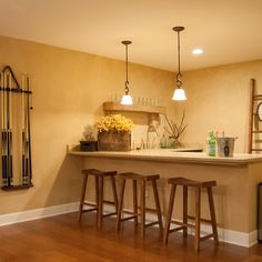 Corner Basement Dry Bar Design Ideas, Pictures, Remodel, and Decor
