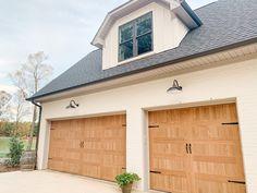 White Exterior Houses, Garage Exterior, Grey Houses, Exterior Trim, Exterior Colors, Exterior Paint, Faux Wood Garage Door, Natural Oak Flooring, Carriage House Garage Doors