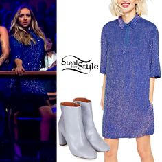 Jade Thirlwall performed with her bandmates at The Late Late Show With James Corden last night wearing an ASOS Embellished Polo Dress ($171.00) and a pair of Magnum Mid Ankle Boots (Sold Out).