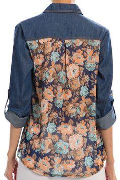 Floral back denim Shirt. #shepaisy