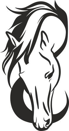 Horse Head Silhouette by GDJ - Angela Barbour - Pferd Horse Drawings, Animal Drawings, Art Drawings, Horse Head Drawing, Silhouette Png, Animal Silhouette, Horse Stencil, Animal Stencil, Horse Tattoo Design