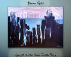 Abstract Painting City Painting Ocean Painting by TheAtticTheory, $250.00