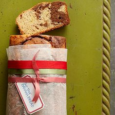 To give the gift of quick bread, wrap cooled, freshly baked bread in plastic wrap; wrap parchment paper around the center of the loaf. Tie three festive ribbons around the center of the parchment to hold it in place. Tuck a holiday tag underneath one of the ribbons.