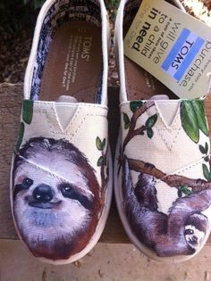 Custom hand painted TOMS shoes, I love Sloths on Etsy, $60.00