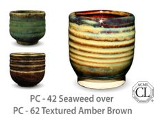 AMACO Potter's Choice layered glazes PC-62 Textured Amber Brown and PC-42 Seaweed.